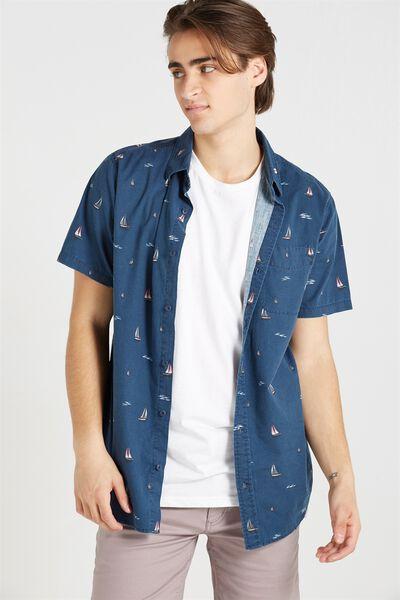 Vintage Prep Short Sleeve Shirt, NAVY NOVELTY