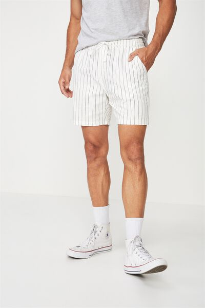Easy Short, WHITE/BLACK STRIPE TEXTURE