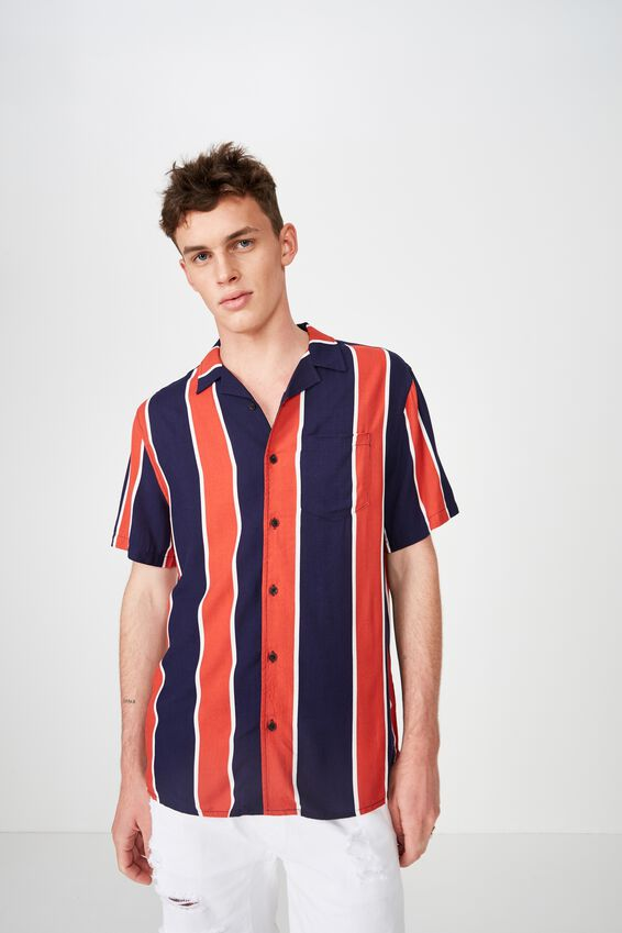 Festival Shirt, NAVY RED BOLD STRIPE