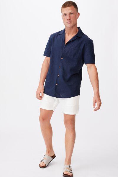 Textured Short Sleeve Shirt, NAVY