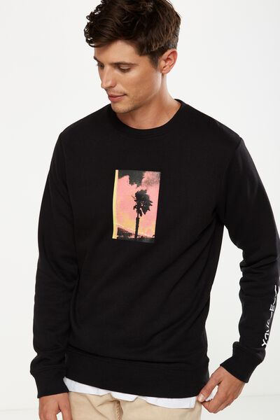 Crew Fleece 2, BLACK/FLAME TREE