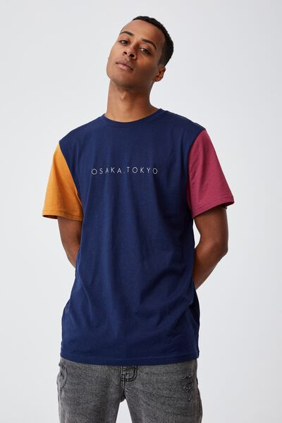 Tbar Text T-Shirt, INDIGO/ROSEWOOD/BUCKSKIN GOLD/OSAKA BLOCKED