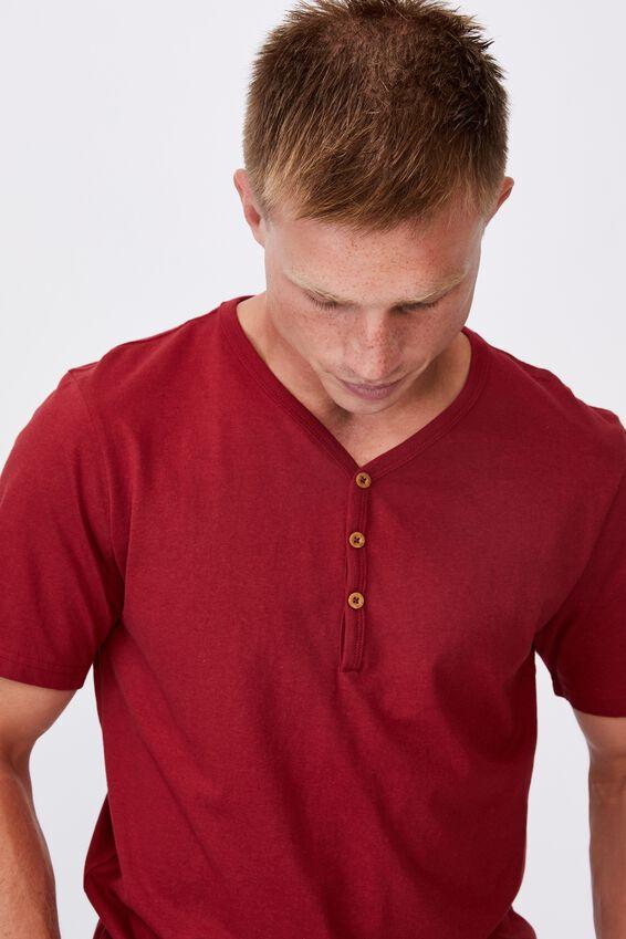 Essential Henley T-Shirt, CHILLI PEPPER