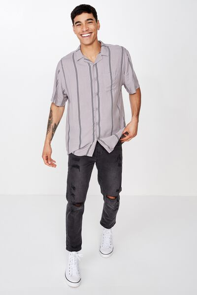 Festival Shirt, GREY NAVY STRIPE