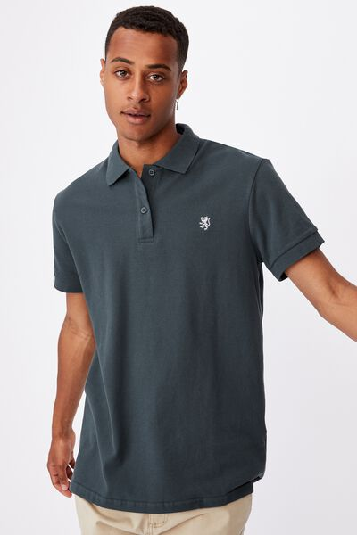 Essential Short Sleeve Polo, FOREST GREEN