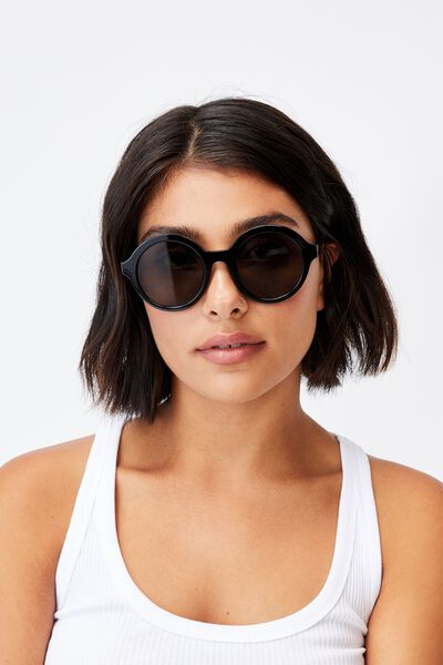 Rylee Round Sunglasses, BLACK