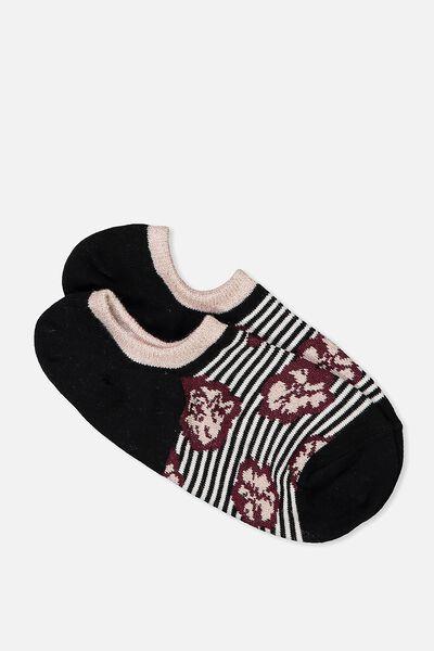 Sports Low Cut Sock, STRIPED FLORAL