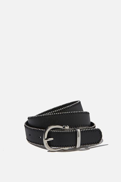 Annie Studded Buckle Belt, BLACK/SILVER