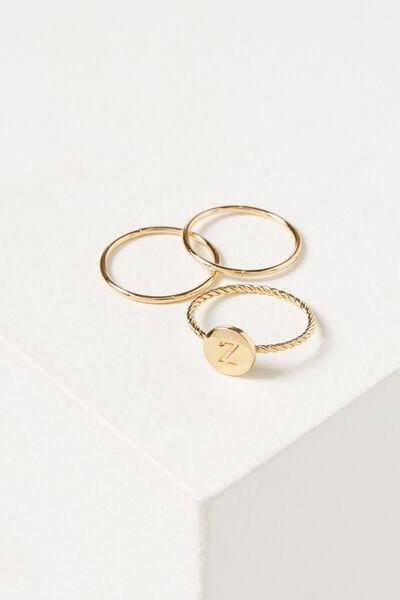 Letter Pendant Ring, GOLD - Z