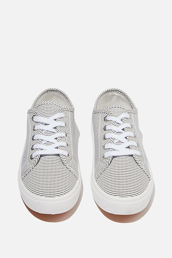 Lisa Lace Up Plimsoll, CHARCOAL STRIPE