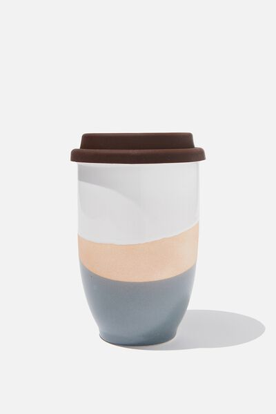 Double Walled Ceramic Travel Cup, WHITE GREY NATURAL