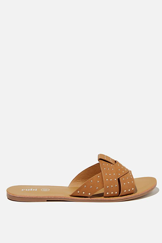 Luna Studded Interlock Slide, TAN STUDDED NUBUCK