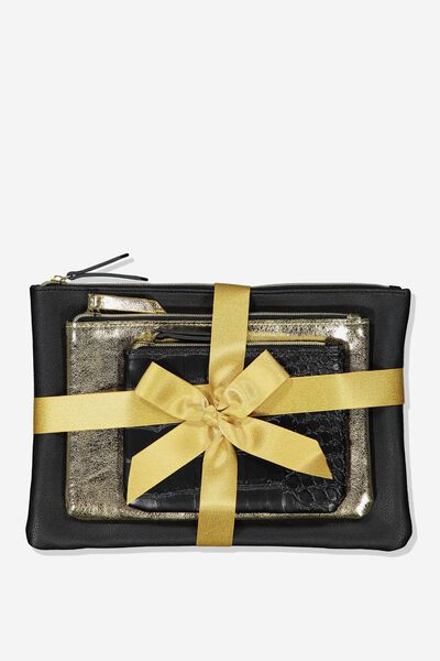 Maci 3 Piece Cosmetic Case Set, BLACK CROC
