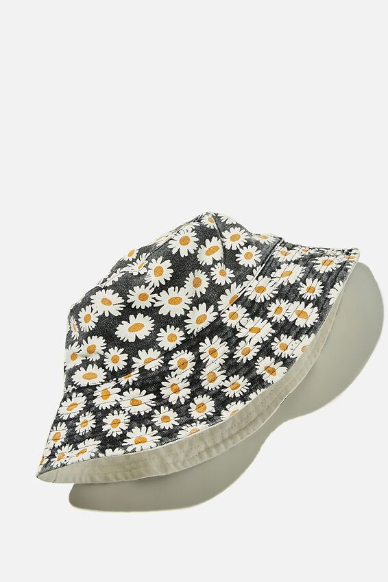 Elly Reversible Wide Brim Bucket Hat, BLACK ELOISE FLORAL