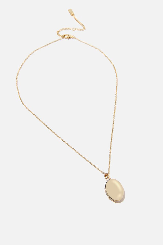 Premium Treasures Necklace, GOLD PLATED OVAL LOCKET