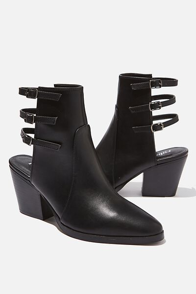 Django Open Back Boot, BLACK SMOOTH