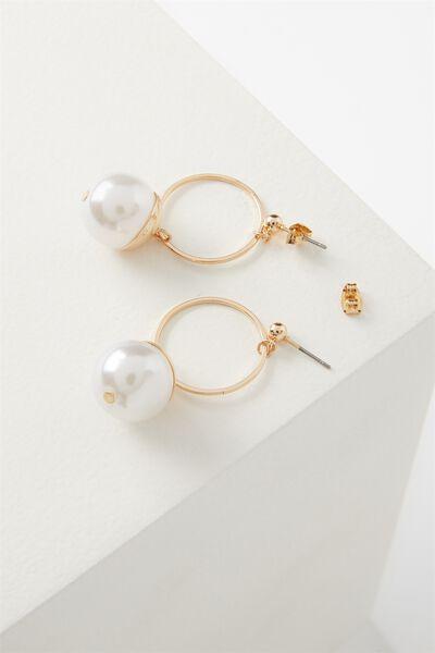 Maddy Metallic Pearl Earring, GOLD
