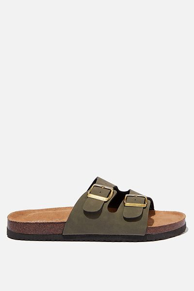 Rex Double Buckle Slide, KHAKI NUBUCK