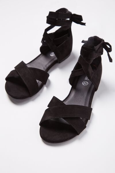 Rach Ankle Wrap Sandal, BLACK