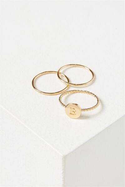 Letter Pendant Ring, GOLD - B