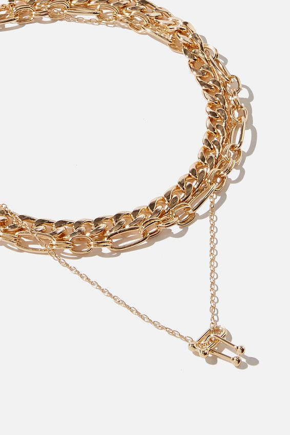 Luxe Layers Paper Chain Drop Layered Necklace, GOLD