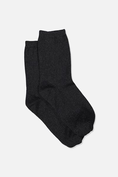 Carrie Crew Sock, BLACK SPARKLE