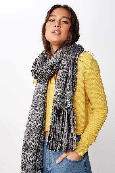 Nicky Knitted Scarf, BLACK MIX