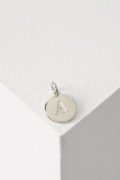 Letter Flat Pendant Charm, SILVER - A