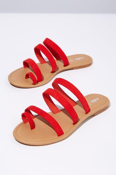 Everyday Toe Loop Multi Strap Slide, RED MICRO