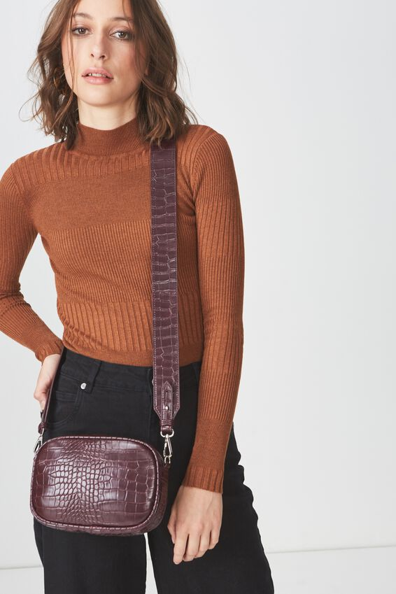 Luxe Cross  Body Bag, FAUX OXBLOOD CROC