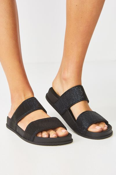 Baillie Double Strap Slide, BLACK PLEATED