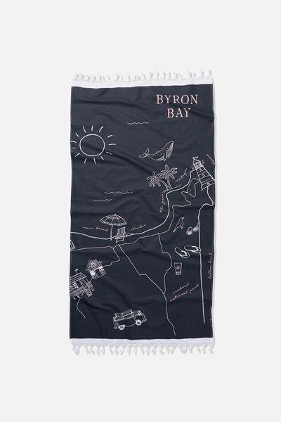 Coogee Lightweight Towel, BYRON BAY MAP