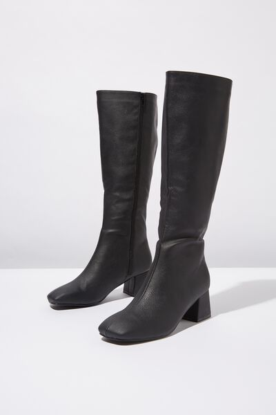 Camilla Square Toe Knee High Boot, BLACK SMOOTH PU