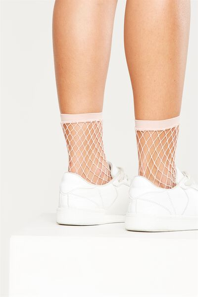 Mid Length Freida Fancy Sock, BLUSH MINI FISHNET