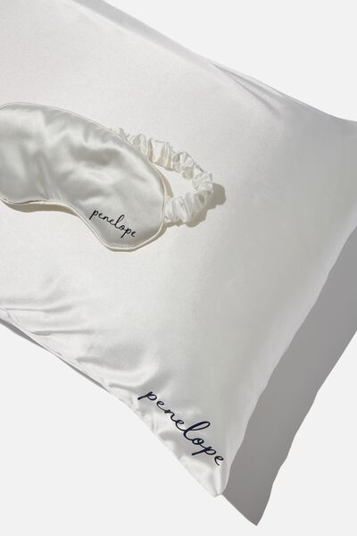 Personalised Satin Eyemask & Pillow Slip Set, WHITE