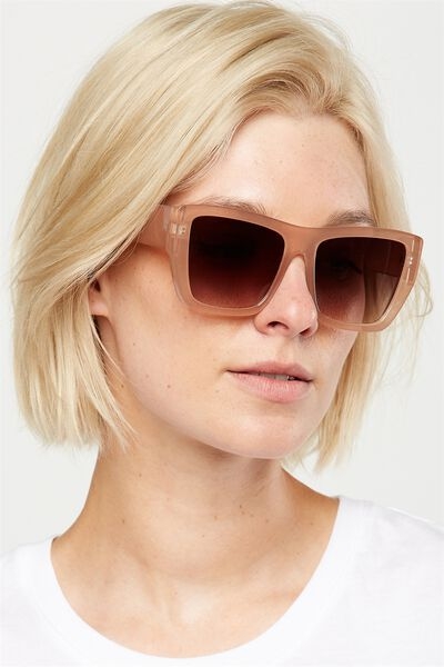 Isabella Flat Top Sunglasses, MILKY NUDE
