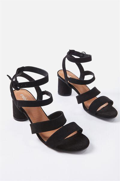 Oslo Strappy Heel, BLACK MICRO