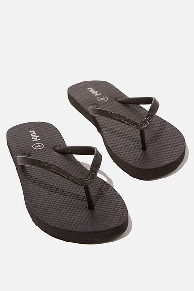 The Rubi Flip Flop, BLACK GLITTER
