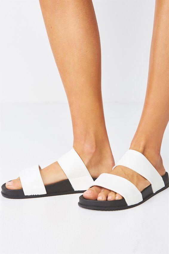 Baillie Double Strap Slide, WHITE/BLACK