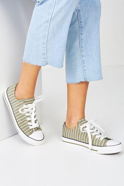 Jodi Low Rise Sneaker 1, KHAKI STRIPE