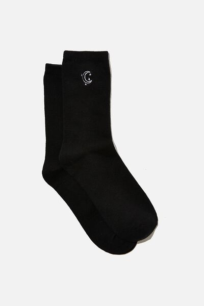 Carrie Crew Sock, BLACK/MOON
