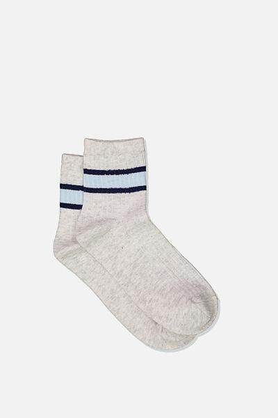 Quarter Crew Sock, GREY MARLE/ICEBERG STRIPE