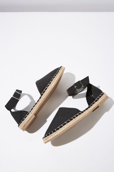 Audrey Ankle Strap Espadrille, BLACK NUBUCK PU
