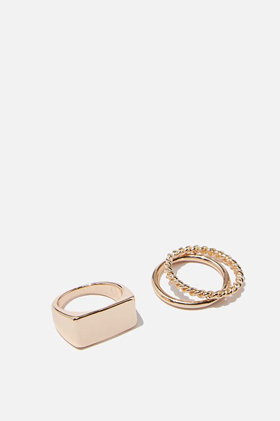 Luxe Layers Bar Ring Set, GOLD