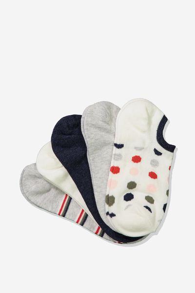 5Pk Sports Low Cut Sock, CREAM MULTI NANCY SPOT