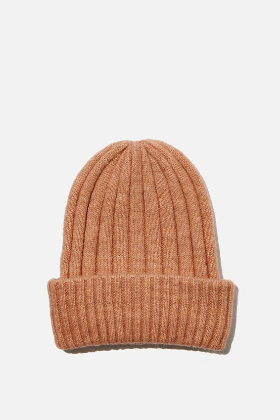Willa Wide Rib Beanie, CORK