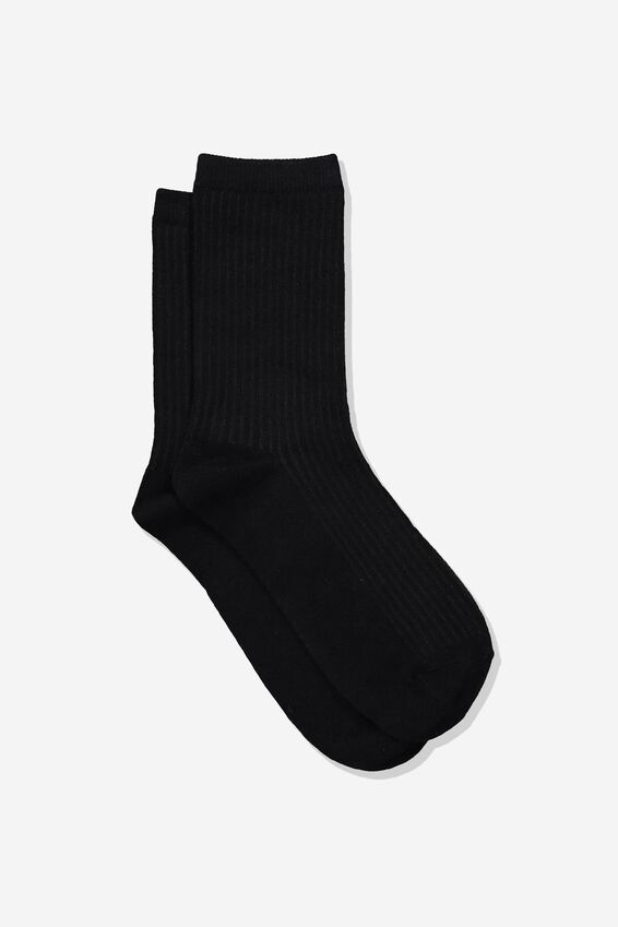Everyday Rib Sock, BLACK
