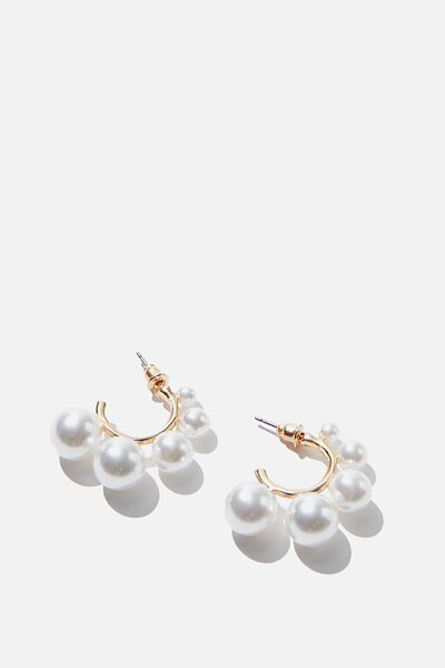 Luxe Layers Medium Statement Pearl Hoop, GOLD