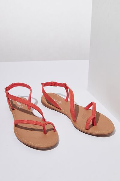 Everyday Annie Asymetric Sandal, SUNSET RED MICRO