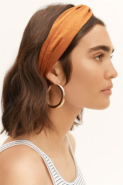 Manhattan Headband, RUST SATIN